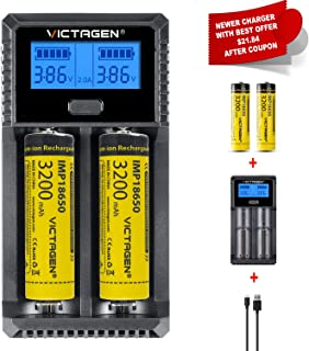 Victagen Universal Battery Charger,LCD Display Rapid Charger for Rechargeable Batteries Ni-MH Ni-Cd AA AAA AAAA C D RCR123A RCR123 Li-ion IMR and All Kind of Cylindrical Rechargeable Battery
