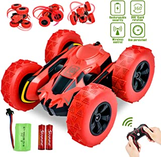 Yuboa Stunt Remote Control Car,2.4GHz 4WD Double Sided Rotating Tumbling RC Car 360 Degree Flip Stunt RC Truck Off Road Stunt Racing Car Toy for Kids Boys Red