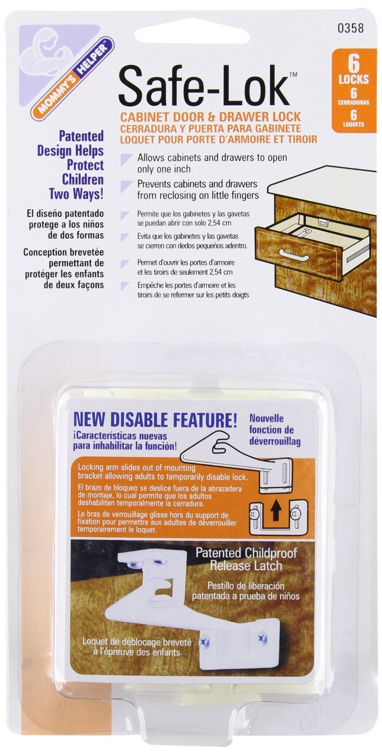 Mommy's Helper Safe-Lok Cabinet Door and Drawer Lock with Disable Feature - 12 Count