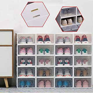Kaibrite Lot de 20boîtes de rangement de chaussures, empilables, en plastique, avec couvercle
