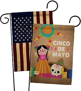 Cinco de Mayo Day Garden Flag - Pack Summer Party Cactus Pinata Sombrero Mexican Fiesta Outdoor USA Vintage Applique - Hou...