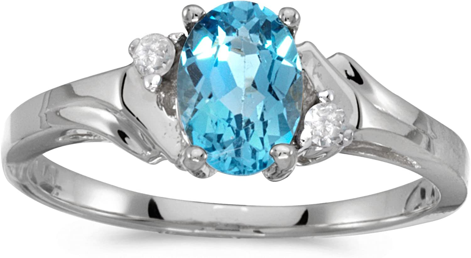 FB Jewels 10k White Gold Genuine Blue Birthstone Solitaire Oval Blue Topaz And Diamond Wedding Engagement Statement Ring - Size 6 (2/3 Cttw.)
