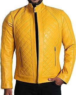 Men's Genuine Lambskin Leather Jacket (Black, Quilted Jacket) - 1501491