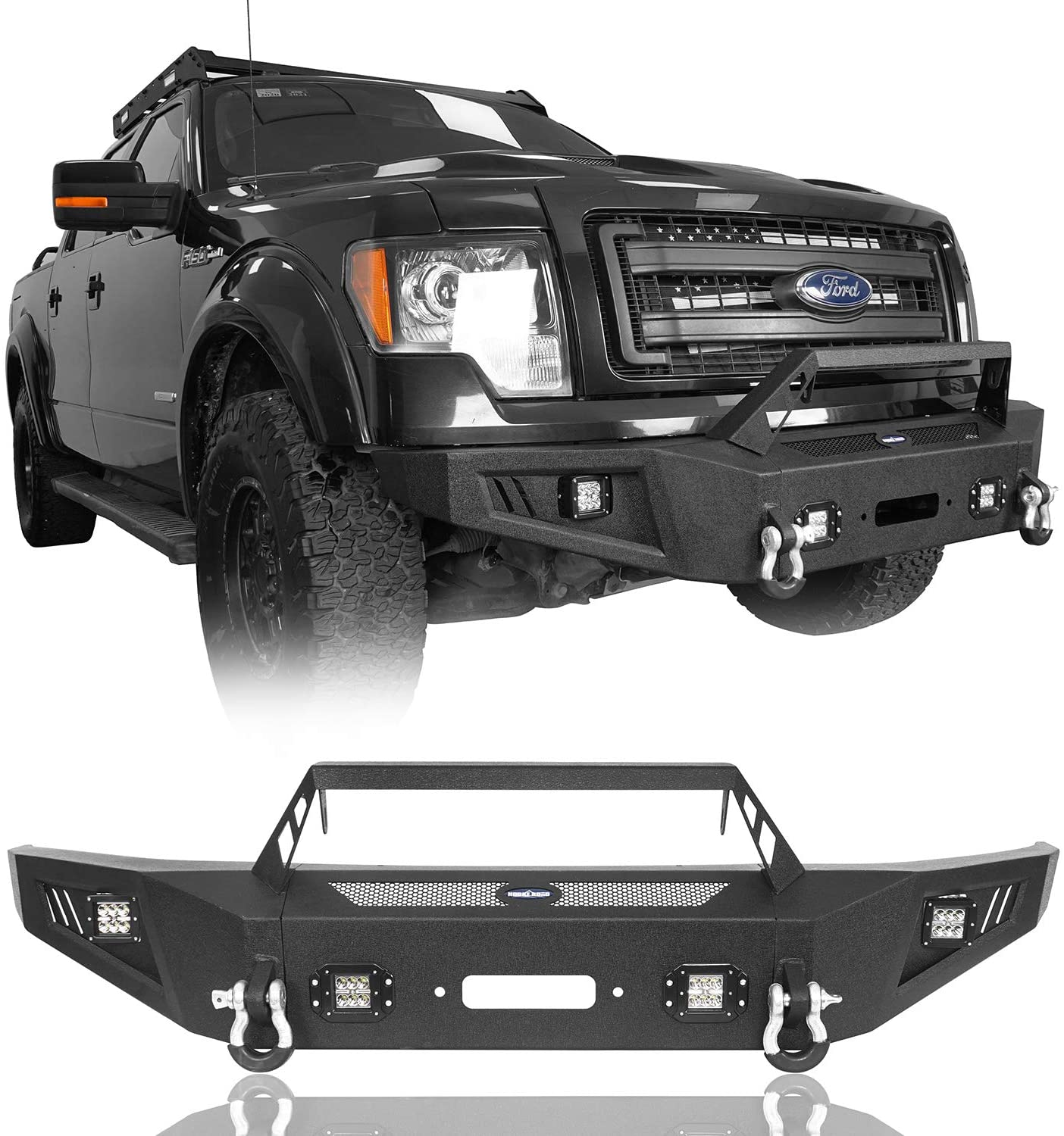 Amazon Com Hooke Road F150 Front Bumper With Winch Plate Lights Compatible With Ford F 150 2009 2010 2011 2012 2013 2014 Excluding Raptor Automotive