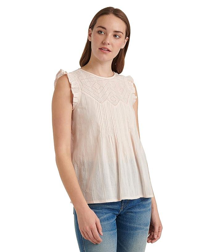 Lucky Brand  Sleeveless Crew Neck Shiffly Ruffle Top (Primrose Pink) Womens Clothing