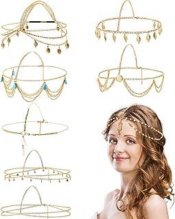 8 Pieces Gold Head Chain Jewelry Boho Headband Head Chain Coins Pearl Tassel Chain Hair Band Festival Prom Wedding Headpiece for Women and Girls