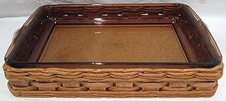 """1960 Corning Pyrex Vintage #233n Baker in a Basket 13.5"""" X 8.75"""" Amber Glass Baking Dish"""