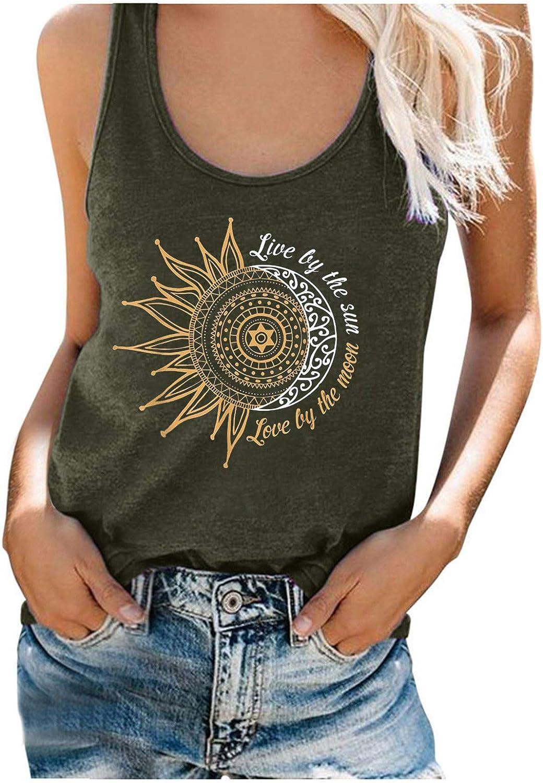 POLLYANNA KEONG Summer Tops for Women,Womens Sunflower Cute Tshirt Sleeveless Casual Summer Workout Tank Top Tunic Tee