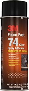3M Foam Fast 74 Spray Adhesive Clear, (Net Fill: 16.9 fl Ounce)(Pack of 1) - Super 74 - Clear