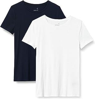MERAKI T-Shirt Girocollo Donna, Pacco da 2