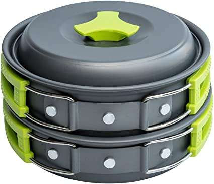 MalloMe Camping Cookware Mess Kit Gear – Camp Accessories Equipment Pots and Pans Set