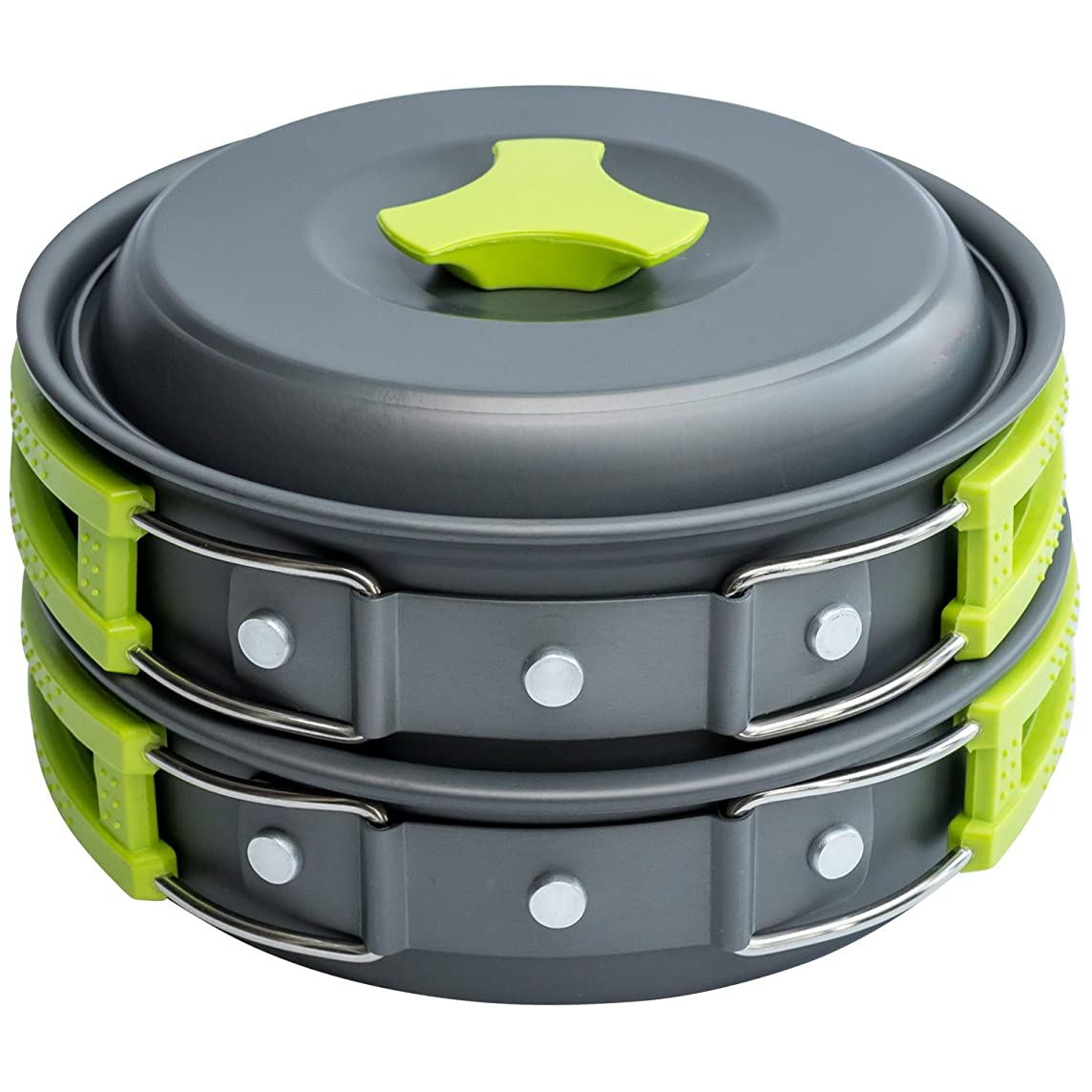 MalloMe Camping Cookware Mess Kit Backpacking Gear & Hiking Outdoors Bug Out Bag Cooking Equipment Cookset | Lightweight, Compact, Durable Pot Pan Bowls