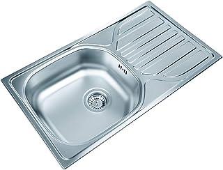 Edelstahlspüle 76cm x 43,5cm mit Ablage Spüle, Einbauspüle, Waschbecken, Küchenspüle