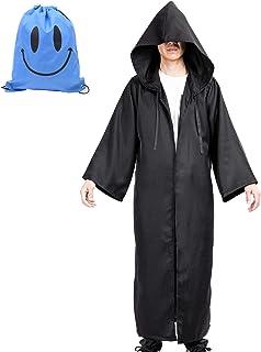 Myir Capa con Capucha de Halloween para Hombre, Disfraz de Caballero para Adulto Carnaval Medieval Traje Ropa Cosplay (XL, Negro)