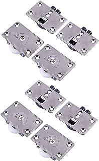 LOOTICH Nueva Versión Placa de Armario Gabinete de Muebles Metal Rueda Diámetro de 24mm Puerta Deslizante Corredera del Rodillo Kit 4 Pares