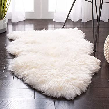 Sheepskin Rug Faux Fur Rug for Room Decoration White Fuzzy Area Rug Gifts(2x3ft White)