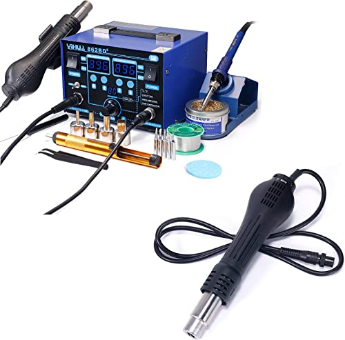 YIHUA 862BD+ Professional Soldering & Rework Station bundle with YIHUA S118A Replacement Hot Air Gun Handpiece/Handle (21 Items)