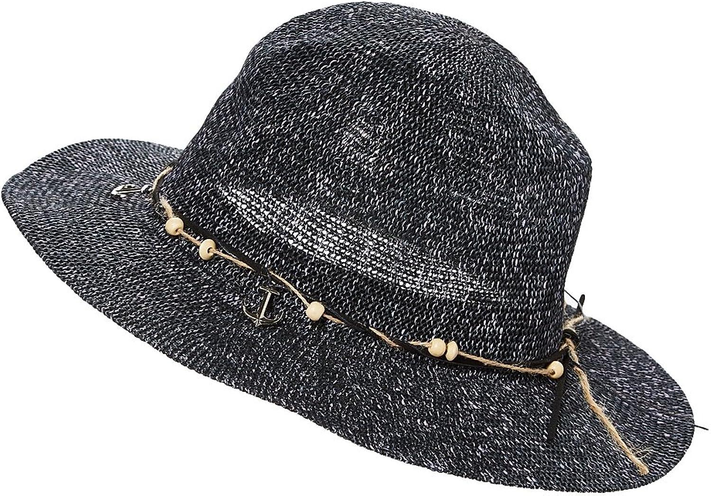 HatQuarters Lightweight Beach Panama Wooden Beads & Anchors Short Brim Summer Sun Hat