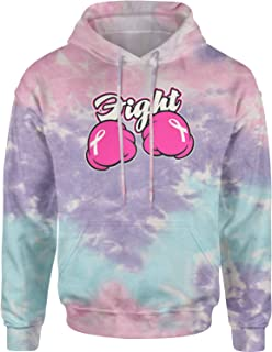 Expression Tees Fight Cancer Pink Cartoon Boxing Gloves Unisex Adult Tie-Dye Hoodie