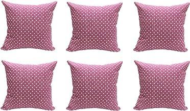 Sleep Well 6PC/Set Home Decorative Pillowcase Cotton Linen Sofa Cushion Throw Pillow Cover (Pink, 45 x 45 cm)