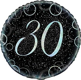 """Unique Glitz Happy 30 Birthday Prismatic Foil Balloon, Black and Silver, 45cm (18"""")"""