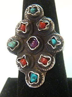 TAXCO Mexico 925 Sterling Silver Unique Ring w/Multi Stone Inlays Size 7