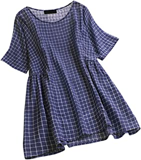 シャツ liqiuxiang レディース 丸首 ゆったり メッシュ 短いドレス型 ワイシャツ 女性 レトロ スクエア型 ブラウス 薄手 グリッド 着痩せ 体型カバー 新しい Tシャツ 可愛い キュート オフィス OL