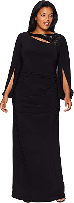 Plus Size Long Sleeve Stretch Jersey Gown with Slit Sleeve and Beaded Neckline Detail