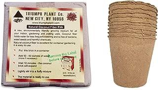 11 Piece Garden Bundle | One (1) Triumph Plant Coco Coir Brick & Ten (10) Biodegradable Plant Pots | Perfect for Tiny Pots, Biodegradable Seed Starter Pots |Coconut Coir