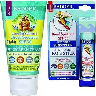 Badger SPF 30 Baby Sunscreen & SPF 35 Face Stick