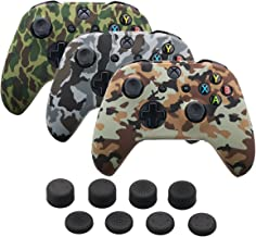 9CDeer 3 Pieces of Silicone Water Transfer Protective Sleeve Case Cover Skin + 8 Thumb Grips Analog Caps for Xbox One/S/X Controller, Camouflage Brown Grey Green