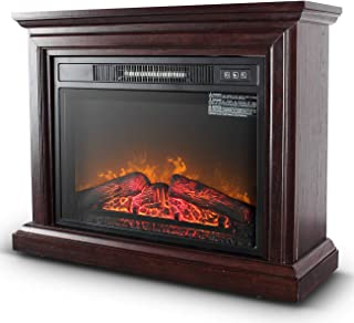 Belleze 3D Infrared Electric Fireplace Stove 31-inch with Remote Control (Brown) Portable Indoor Space Freestanding Heater...