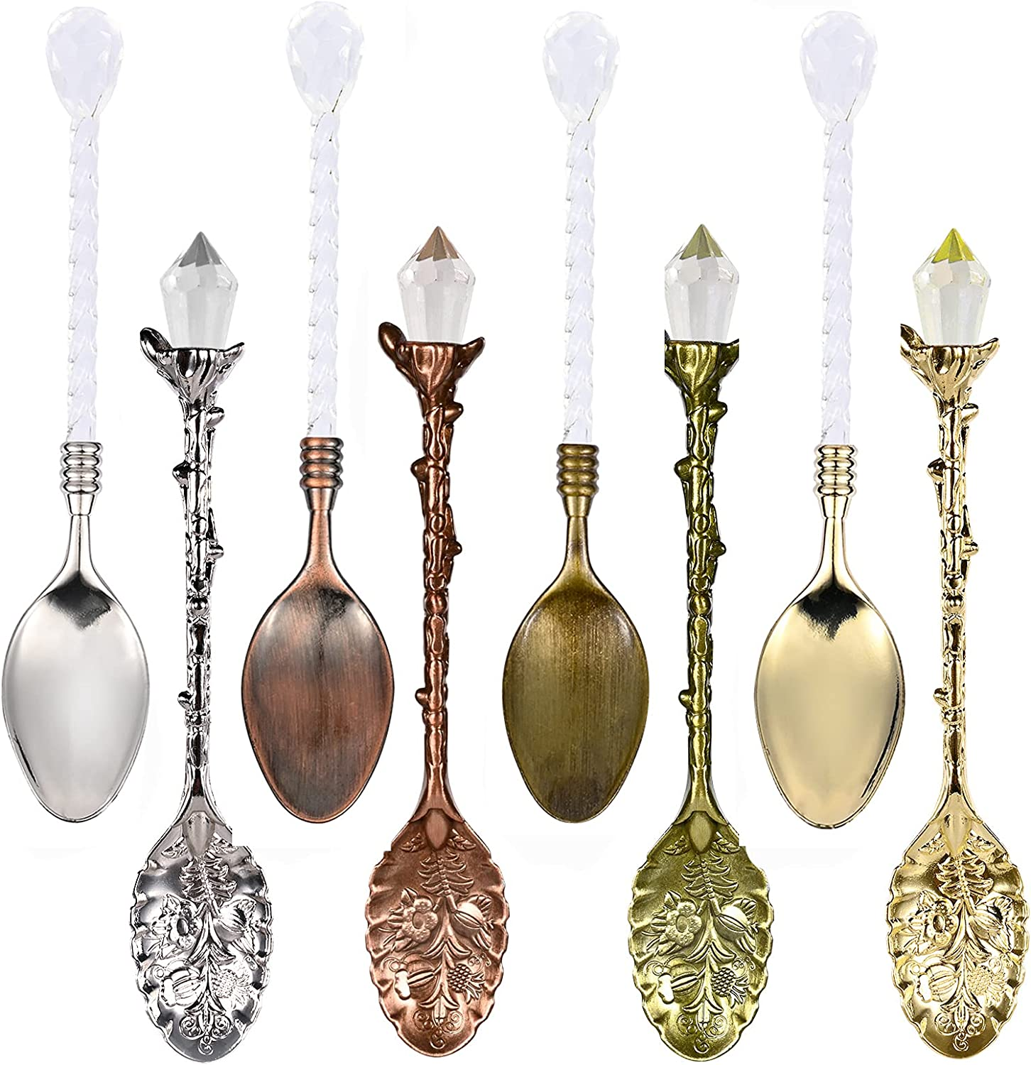 YAIKOAI 8 Pieces Retro Coffee Tea Spoon with Crystal Ice Cream Dessert Spoons Alloy Vintage Stirring Scoop Teaspoon for Home Kitchen Office Cafe Bar Gadgets, 4 Color