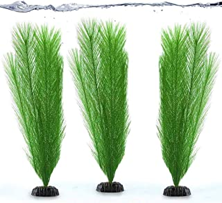 SunGrow Aquarium Plants, Decorative Silk Fiber, Plastic Faux Feather Grass, Gives Shade and Beautiful Environment to Aquatic Animals, Perfect for Both Saltwater and Freshwater Tanks, 3 Pcs per Pack