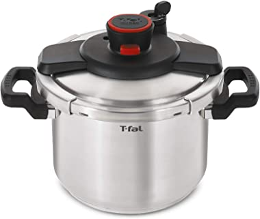 T-fal P45009 Clipso Stainless Steel Dishwasher Safe PTFE PFOA and Cadmium Free 12-PSI Pressure Cooker Cookware, 8-Quart, Silv