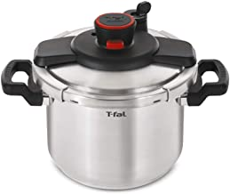 T-fal P45009 Clipso Stainless Steel Dishwasher Safe PTFE PFOA and Cadmium Free 12-PSI Pressure Cooker Cookware, 8-Quart, S...