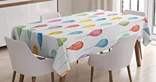 Ambesonne Colorful Tablecloth, Colorful Balloons Birthday Party Theme Celebration Festival Surprise Event Pattern, Dining Room Kitchen Rectangular Table Cover, 60