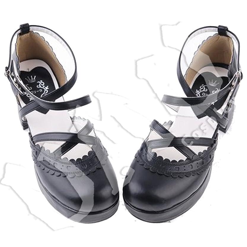 社員かなりチロ【UMU】 LOLITA ロリータ クロ シンプル 日常 風 靴 ブーツ ブーティ オーダーメイド(ヒール高、材質、靴色は変更可能!) (足27cm)