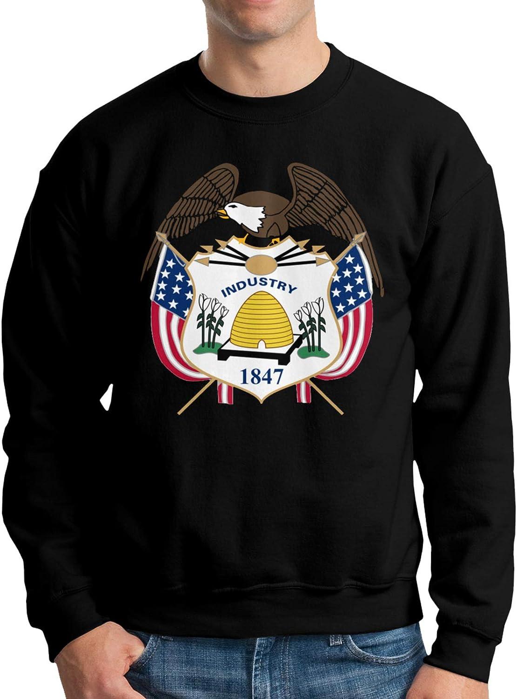 outlet GZzw Qizi High quality Utah State Coat of S Men's Fleece Arms Cotton Crewneck