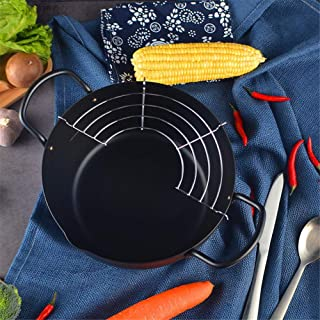 cary-yan Tempura Fryer Pot, Fine Iron Pot with Removable Drainer, Large Capacity Fried Shrimp Non-stick Deep Fry Pan Frying Pot for Home Hotel, 22 CM/8.6 Inches decent