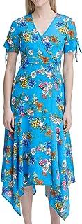 Calvin Klein Women's Belted V-Neck Dress