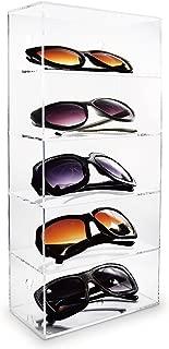 Mooca Wall Mounted Acrylic Eyewear case Mountable Display Case 5 Shelf Sunglasses Eyewear Display Case Sunglasses Holder for Wall, 7 1/8