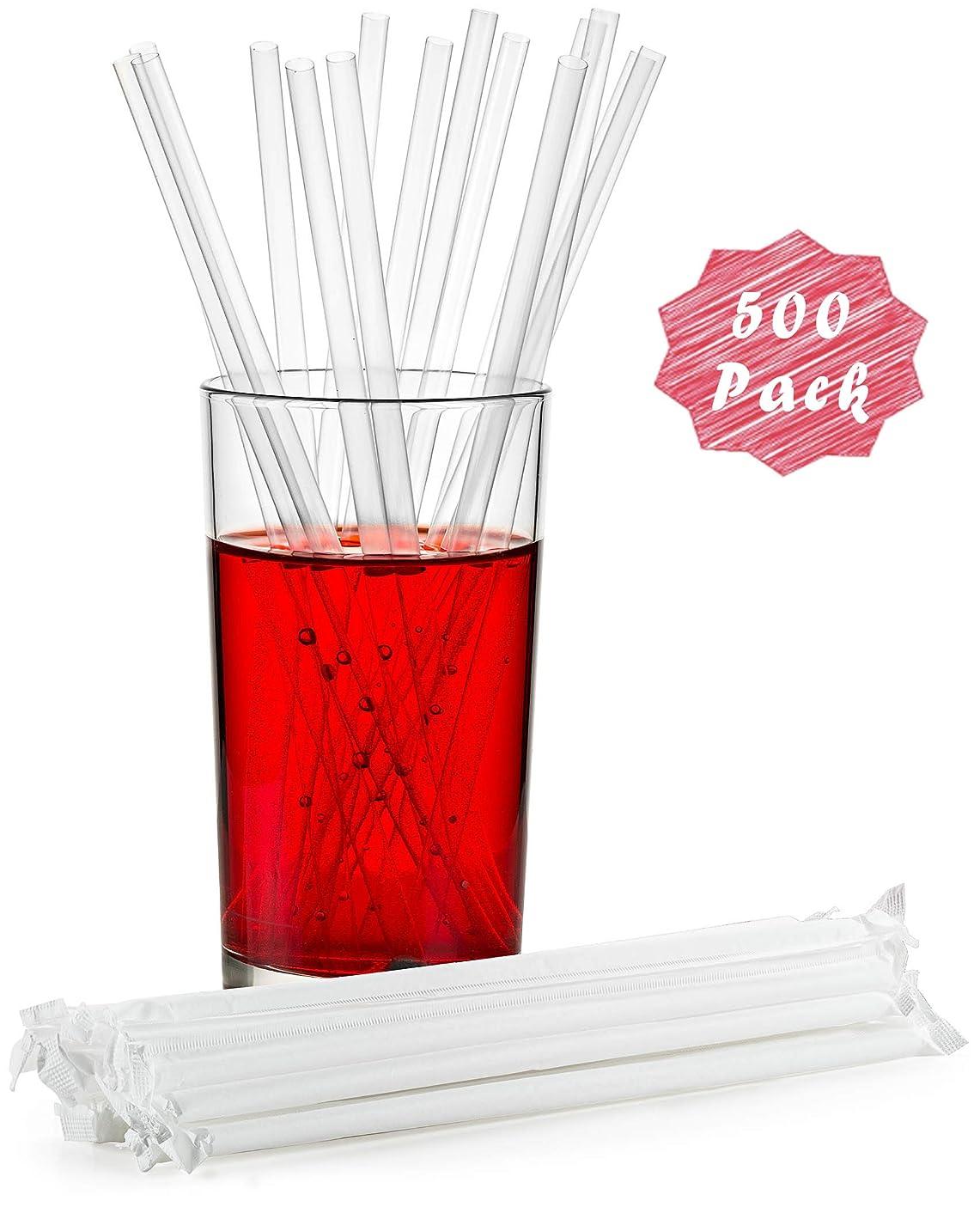 広まった歯科医学生透明プラスチックストロー、個別包装ストロー長さ7.75インチ、BPAフリー、レストラングレード、使い捨てストロー500本パック