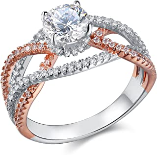 Wuziwen Engagemenr Rings for Women CZ Cubic Zirconia 2 Tune Rose Gold Sterling Silver Rings