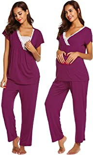 Womens Maternity Nursing Pajamas Set,Soft Breastfeeding Pjs Pregnancy Sleepwear Set