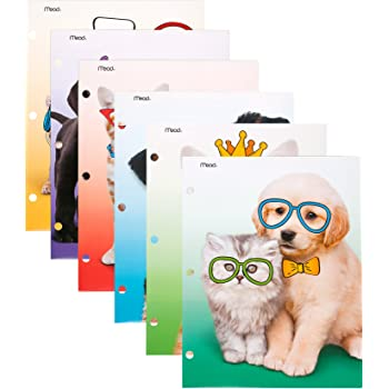 """Mead 2-Pocket Folders, Folders with Pockets, 12"""" x 9-3/8"""", Purrs & Grrrs, Assorted Designs, 6 Pack (73869)"""