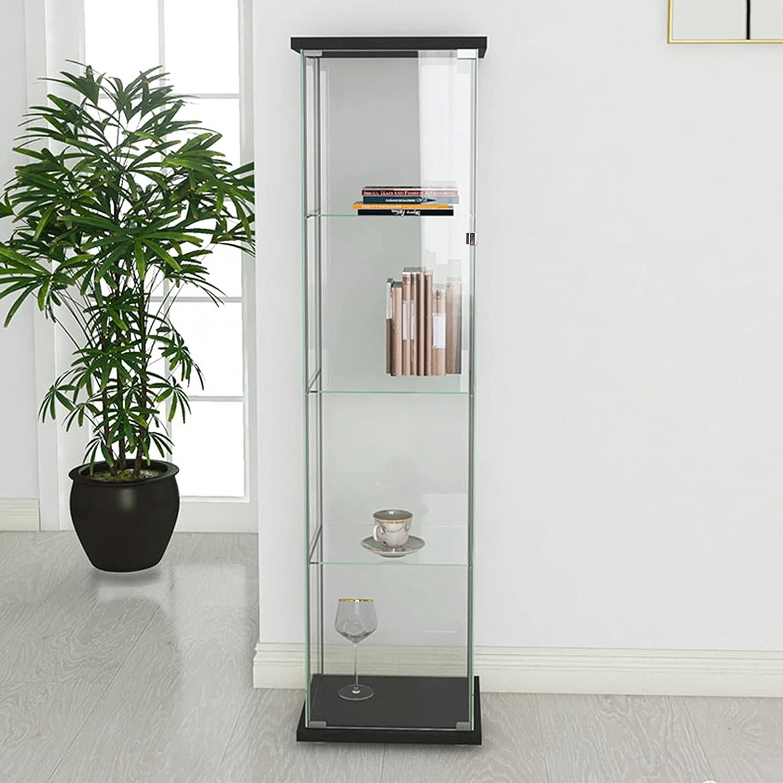 Vitrina de Vidrio con Estante de Pared, Madera Natural. Moderna Vitrina de Madera con 4 estantes de 200 kg.-Black