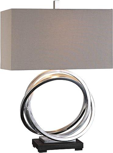 2021 Uttermost Soroca lowest wholesale Silver Leaf Metallic Rings Table Lamp online sale