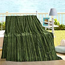 Mademai Bamboo House Decor Collection Home Decor,Lined Up Tall Bamboo Stems Sticks Growth Environment Ecology Diversity of Universe Image,Summer Quilt Green 60