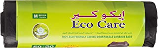 Eco Care Black Garbage Bag Roll - 20 Count, 50 Gallons, 75x103cm